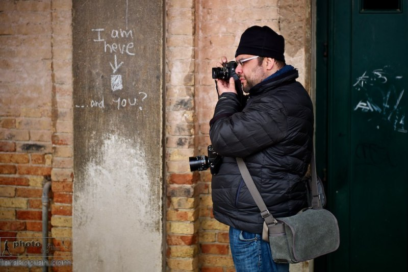 Photographer Edmond Terakopian with his Leica M9 and M9-P and Think Tank Photo Retrospective 5 camera bag. December 04, 2011 bespoke workshop, Venice, Italy. Photo: Jim Grover