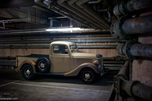 A 1935 Ford Pickup truck parked in the NT (National Theatre) underground car park. London. May 07, 2012. Photo: ©Edmond Terakopian 2012