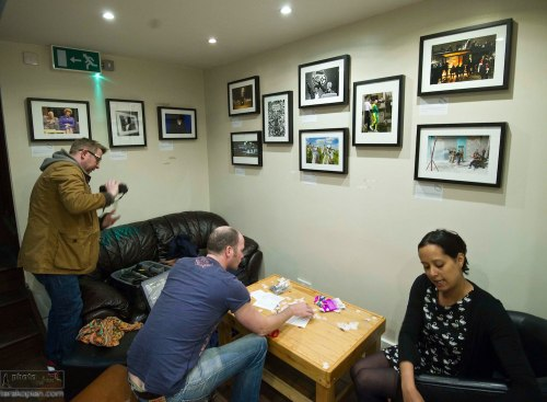 "Setting up the Fleet Street Photo Exhibition at ""The Fleet Street Press"" Coffee and Tea House, 3 Fleet Street, EC4Y 1AU, London. April 21, 2013. Photo: ©Jonathan Buckmaster"