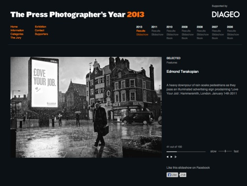 "The Press Photographers' Year (PPY) website, ""Features"" section."