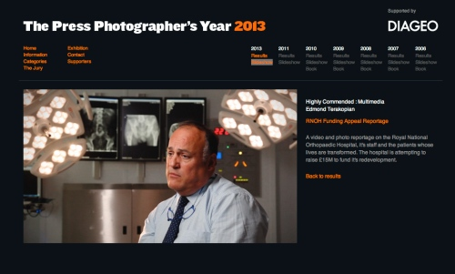The Press Photographers' Year (PPY) website, Highly Commended, Multimedia section.