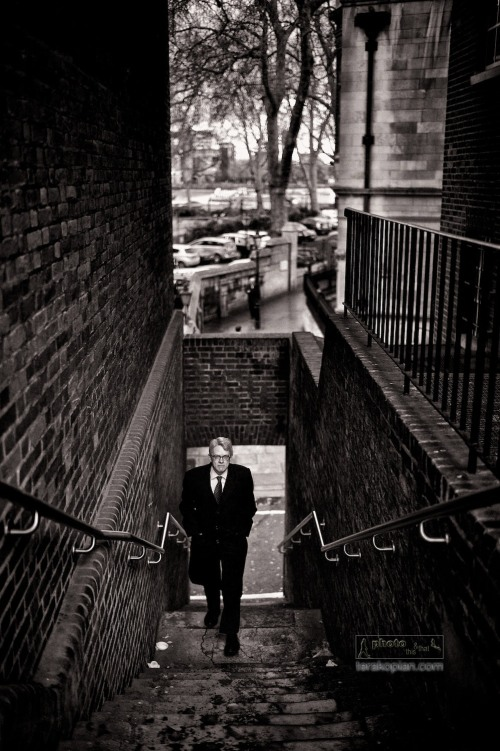 Street life. Stairs and the businessman. Essex Street, London WC2. February 14, 2013. Photo: ©Edmond Terakopian