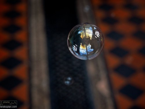 A floating bubble with the reflection of a glass roof. Olympus OM-D EM-1 Test Shot   Castle Leslie, Glaslough, Ireland. September 10, 2013. Photo: ©Edmond Terakopian    *jpeg image processed in Aperture*