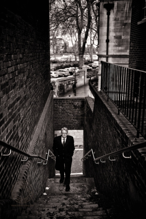 Street life. Stairs and the businessman. Essex Street, London WC2. February 14, 2013. Photo: Edmond Terakopian
