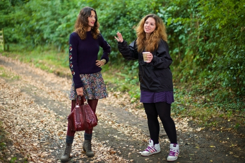Model Lizzie Bowden and DOP Rebecca Gower. New Look behind the scenes shoot of their Autumn / Winter 2013 collection advertising film by Cherry Duck. Walnuts Farm, Old Heathfield, East Sussex, UK. August 22, 2013. Photo: ©Edmond Terakopian