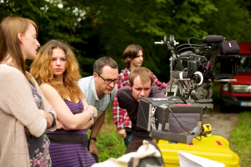 Kim Knight , James Vellacott, director Rebecca Gower and DOP Peter Emery from Cherryduck. New Look behind the scenes shoot of their Autumn / Winter 2013 collection advertising film by Cherry Duck. Walnuts Farm, Old Heathfield, East Sussex, UK. August 22, 2013. Photo: ©Edmond Terakopian