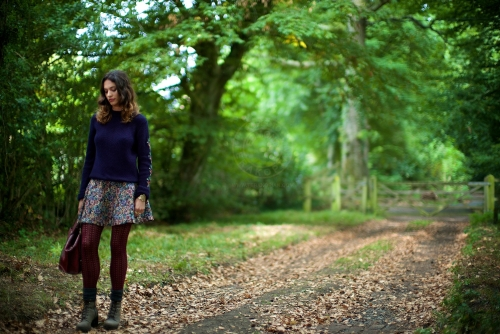 Model Lizzie Bowden. New Look behind the scenes shoot of their Autumn / Winter 2013 collection advertising film by Cherry Duck. Walnuts Farm, Old Heathfield, East Sussex, UK. August 22, 2013. Photo: ©Edmond Terakopian