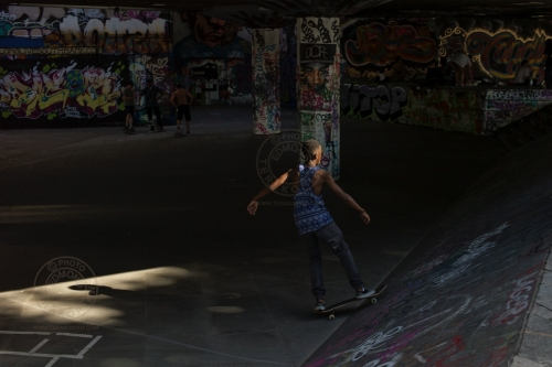 London's South Bank.  Skate Park.  July 15, 2013. Photo: ©Edmond Terakopian / 2013