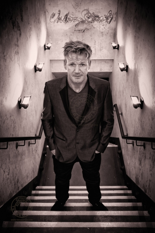 Gordon Ramsay at the steps leading to his Union Street Bar, 47-51 Great Suffolk Street, Southwark, London SE1.  August 30, 2013. Photo: ©Edmond Terakopian