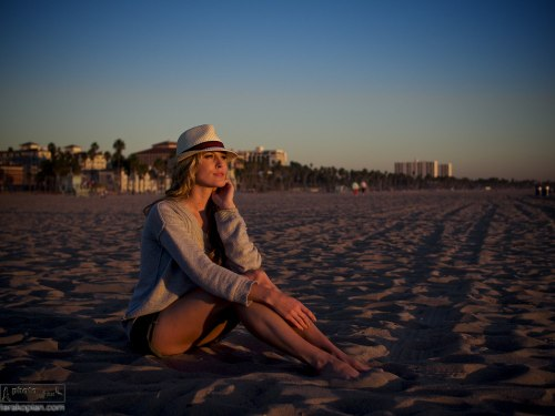 Andrea Feczko (American TV Presenter and digital content creator. www.andreafeczko.com), on Santa Monica beach at sunset. LA, USA. January 14, 2014. Photo: Edmond Terakopian