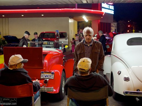 Bob's Big Boy in Burbank is a burger restaurant where every Friday night, classic car enthusiasts gather to show off their classic restored cars and hotrods. Los Angeles, California, USA. January 17, 2014. Photo: Edmond Terakopian
