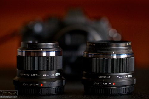 The new Olympus M.ZUIKO DIGITAL 25mm 1:1.8 lens.  Photographed next to the 45mm lens for size comparison.  January 28, 2014. Photo: Edmond Terakopian   *Please forgive the particles of sand on the equipment!!*