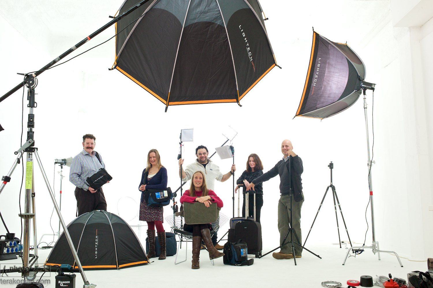 Members of the Snapperstuff team at Tower Bridge Studios in London. The team with some of the products from Think Tank Photo, KLM, Lightech and LumiQuest.  December 08, 2012. Photo: Ant Upton