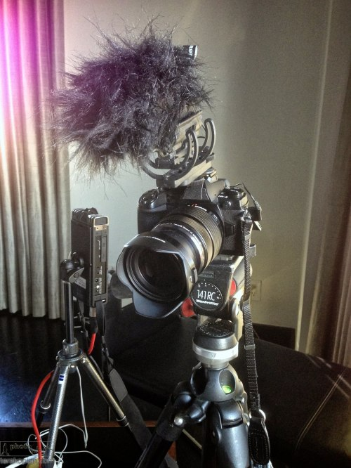 The Olympus OM-D E-M1, Olympus M.Zuiko 12-40mm f2.8 PRO lens and Rode VideoMic Pro on a Manfrotto tripod. On the left is a Roland R26 audio recorder. January 18, 2014. Photo: ©Edmond Terakopian