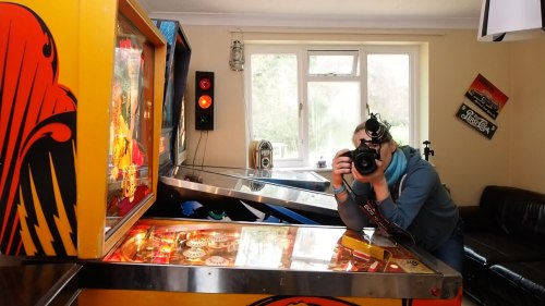 Magda Rakita filming the behind the scenes action. 1 Sixpence 1 Play pinball film frame grabs. Photo: Edmond Terakopian