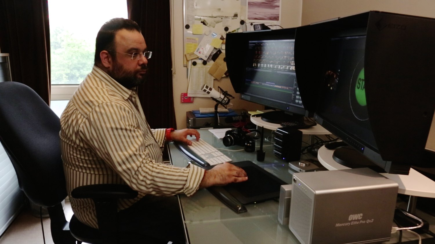 Editing the piece on FCP X and a pair of calibrated Eizo CG277 monitors. 1 Sixpence 1 Play pinball film frame grabs. Photo: Edmond Terakopian