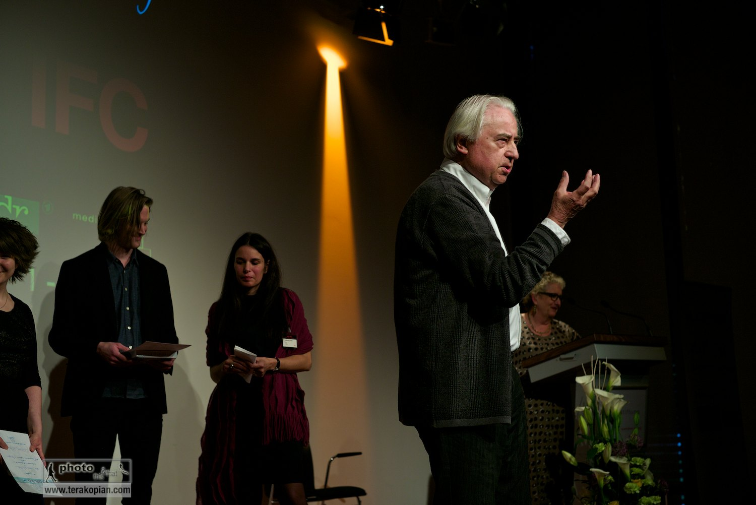 Official opening of the IFC (International Features Conference) by Peter Leonard Braun, also called Leo (German feature-maker), Media Campus (Medienstifftung der Sparkasse Leipzig), Poetenweg, Leipzig, Germany. May 11, 2014. Photo: Edmond Terakopian