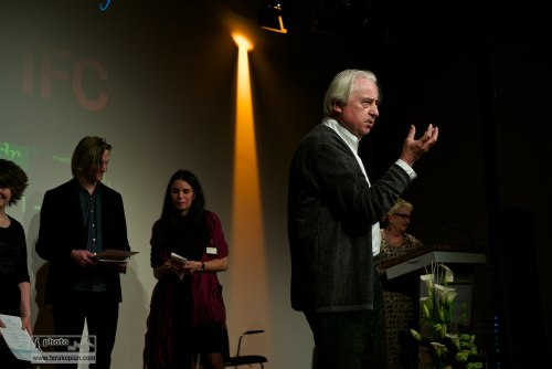 Official opening of the IFC (International Features Conference) by Peter Leonard Braun, also called Leo (German feature-maker), Media Campus (Medienstifftung der Sparkasse Leipzig), Poetenweg, Leipzig, Germany. May 11, 2014. Photo: Edmond Terakopian