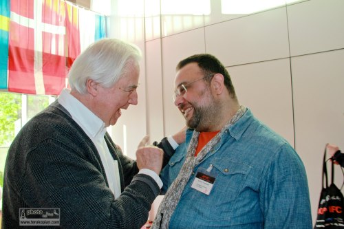 At the opening of the IFC (International Features Conference) by Peter Leonard Braun, also called Leo (German feature-maker) and Edmond Terakopian, Media Campus (Medienstifftung der Sparkasse Leipzig), Poetenweg, Leipzig, Germany. May 11, 2014. Photo: Li Hong