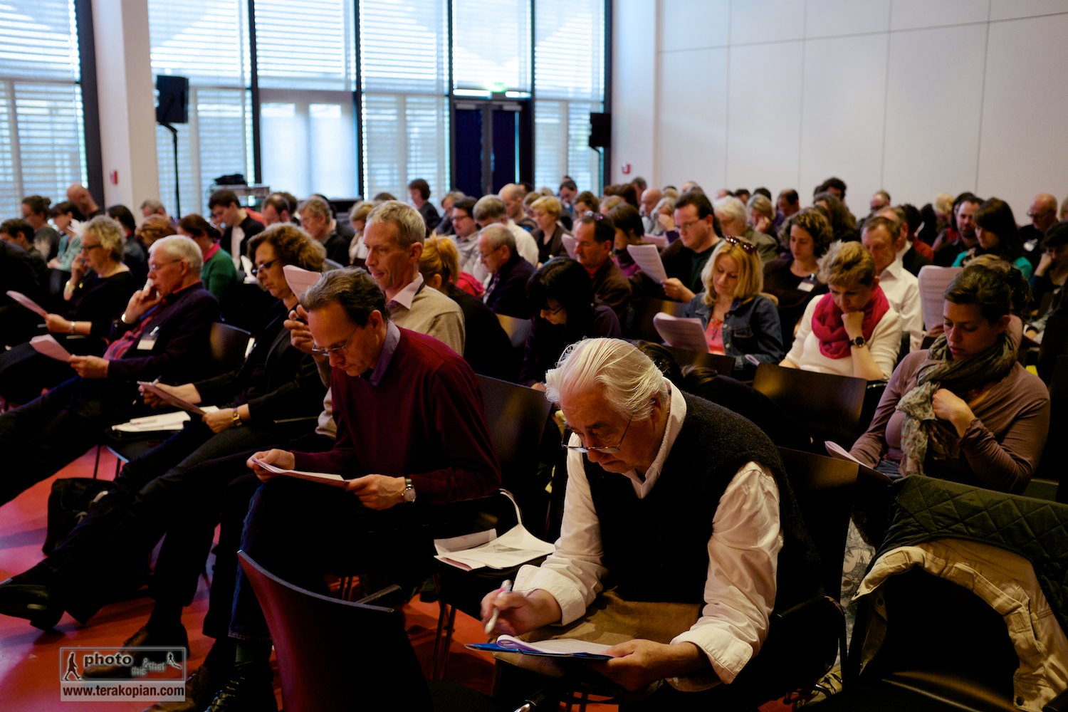 The main hall at the IFC (International Features Conference), Media Campus (Medienstifftung der Sparkasse Leipzig), Poetenweg, Leipzig, Germany. The delegates listen to features programmes which will then be discussed in smaller groups. May 14, 2014. Photo: Photo: Edmond Terakopian