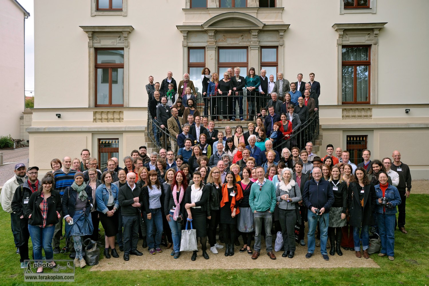 IFC Leipzig 2014 Group Shot. IFC (International Features Conference), Media Campus (Medienstifftung der Sparkasse Leipzig), Poetenweg, Leipzig, Germany. May 14, 2014. Photo: Photo: Bernd Cramer/MDR