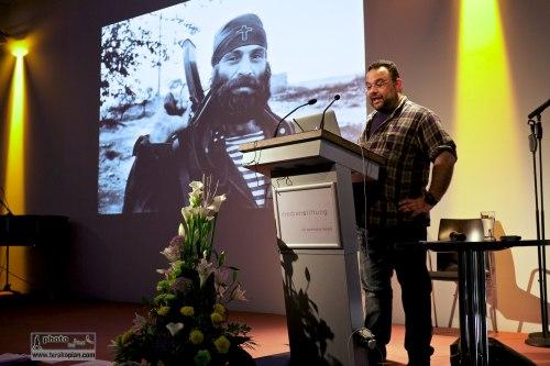 Edmond Terakopian giving a talk on Photography & Film to the IFC (International Features Conference), Media Campus (Medienstifftung der Sparkasse Leipzig), Poetenweg, Leipzig, Germany. May 14, 2014. Photo: Thomas Martin Gasser / @ThomasMGasser
