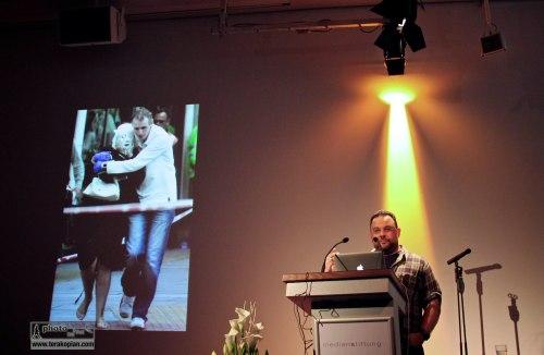 Edmond Terakopian giving a talk on Photography & Film to the IFC (International Features Conference), Media Campus (Medienstifftung der Sparkasse Leipzig), Poetenweg, Leipzig, Germany. May 14, 2014. Photo: Li Hong