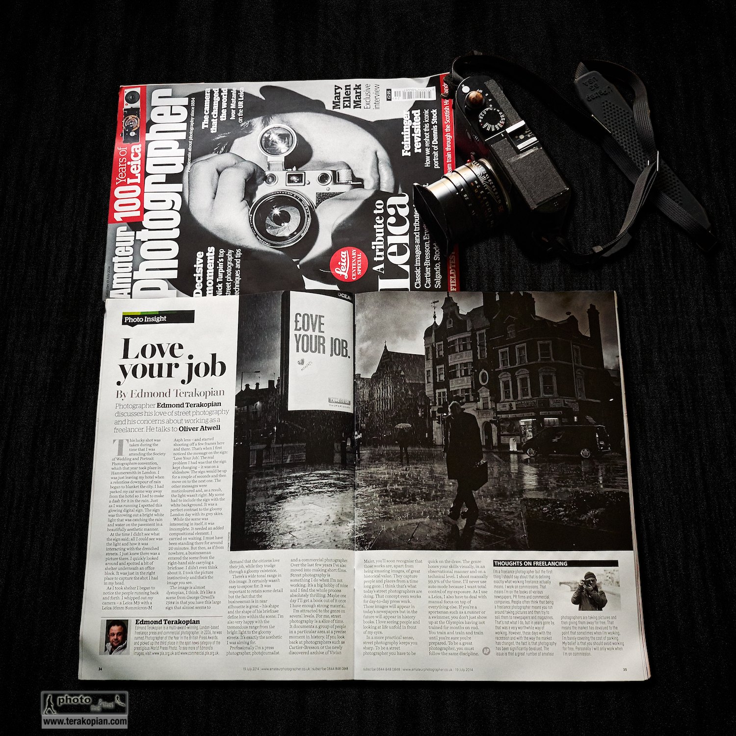 "Amateur Photographer magazine's Leica tribute issue, containing a double page spread interview on my ""Love Your Job"" photograph. July 18, 2014. Photo: Edmond Terakopian"