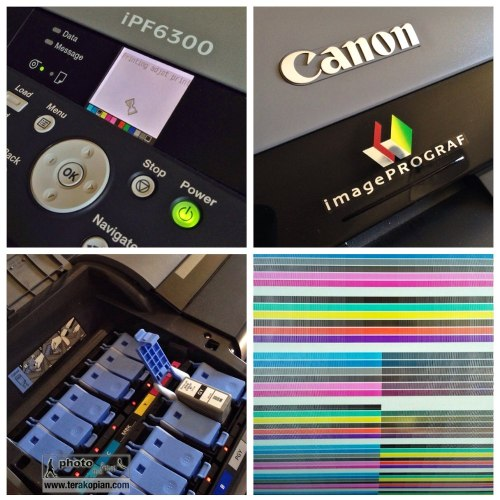A montage on the Canon iPF6300 large format printer. Replacing inks and nozzle check calibration print after installing new print heads. Photo: ©Edmond Terakopian