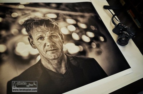 An A1 size print of chef Gordon Ramsay, printed on the Canon iPF6300 on Canon photo satin paper. The image was shot using this Leica M (Type 240) and 50mm Noctilux ASPH. Photo: ©Edmond Terakopian