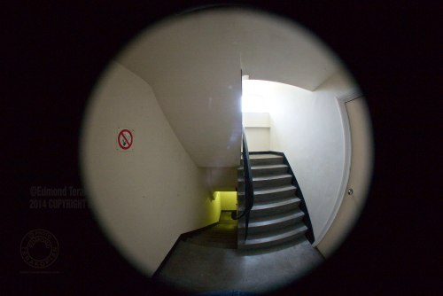 Nikkor 8mm Fisheye Lens On Leica M (Type 240) Test, using Novoflex adapter. The stairwell. London. July 06, 2014. Photo: Edmond Terakopian