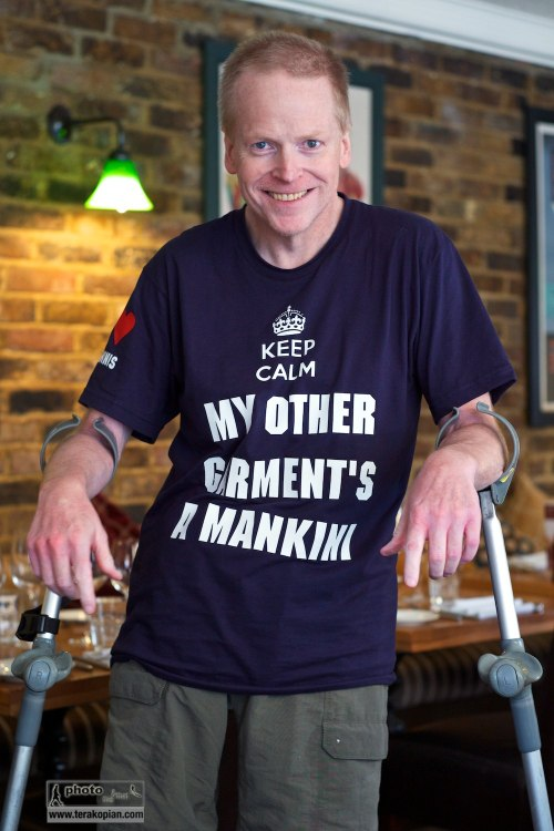 "Neil Patience wearing his ""Mankini"" T-shirt (designed by me as a joke). Kew Grill, Kew. October 22, 2013. Photo: Edmond Terakopian"