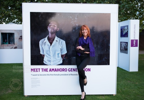 The Amahoro Generation by Carol Allen Storey (pictured) for International Alert. The outdoor exhibition is at the Bernie Spain Gardens, Riverside Walksway (by Oxo Tower Wharf), South Bank, London. September 18, 2014. Photo: Edmond Terakopian