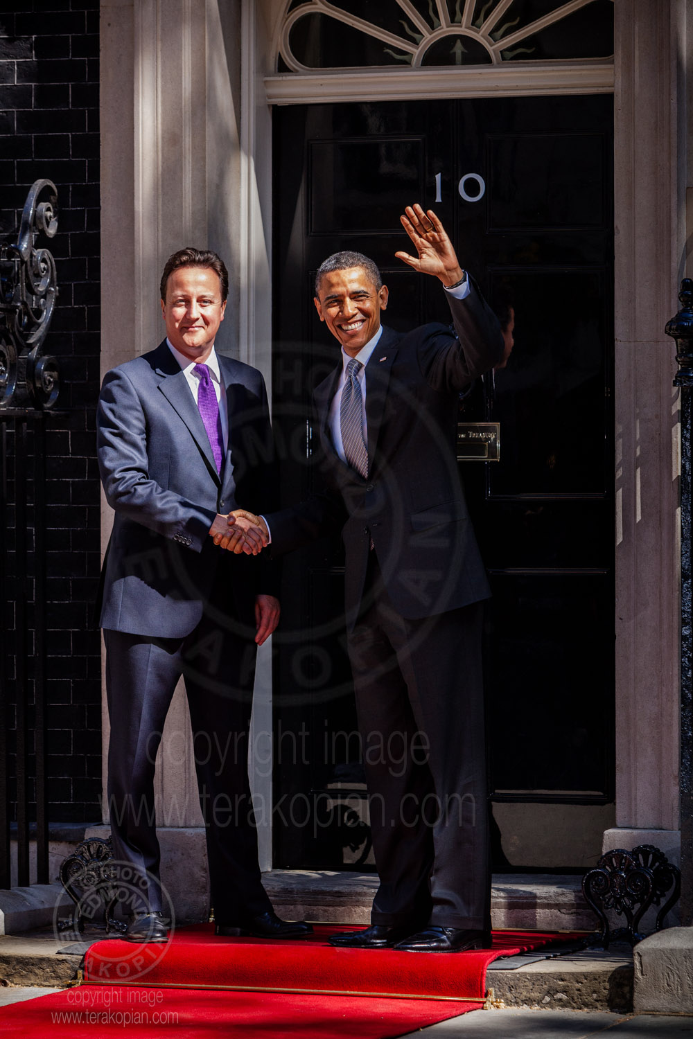 State visit to Britain by US President Barack Obama.  Britain's Prime Minister David Cameron greets the US President Barack Obama, welcoming him to 10 Downing Street.  May 25 2011. Photo: Edmond Terakopian