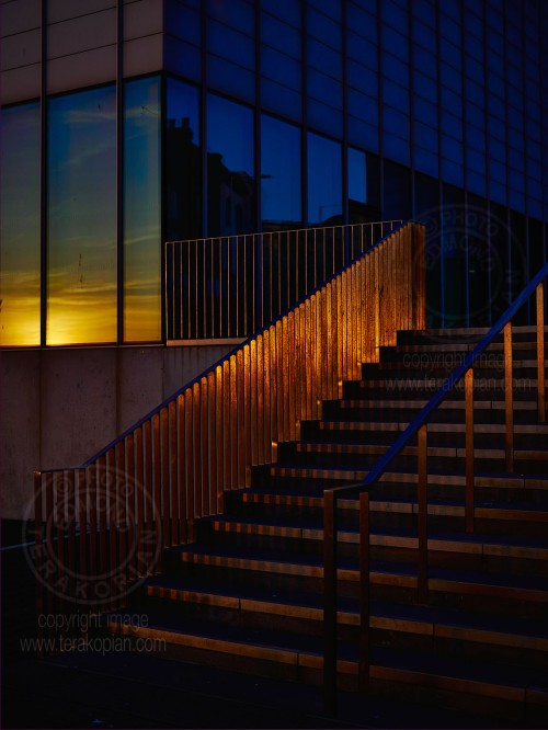 The sun sets over the steps leading to theTurner Contemporary gallery in Margate, Kent. April 15, 2014. Photo: ©Edmond Terakopian