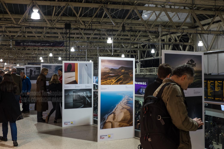 The Landscape Photographer of the Year exhibition at London's Waterloo Station, Mezzanine level. December 01, 2014. Photo: Edmond Terakopian
