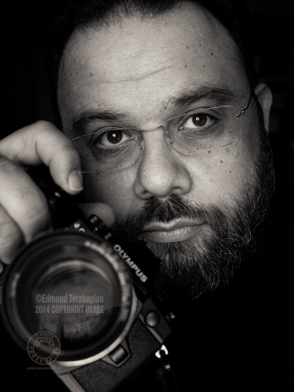 A self portrait by photographer and film maker Edmond Terakopian. Picture shows his Olympus OM-D E-M1 camera. London. February 23, 2015. Photo: Edmond Terakopian