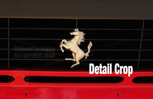 A detail crop; A rare Ferrari 288 GTO  built in 1985 with only 883 miles on the clock. It is valued at £2,000,000 and available from H.R. Owen in South Kensington, London. Image shot on the Olympus OM-D E-M5 II, using the multi shot sensor shift facility, creating a 40 megapixel image. January 30, 2015. Photo: ©Edmond Terakopian