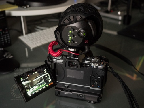 The new Olympus OM-D E-M5 Mark II fitted with the HLD-8 Power Battery Grip and Rode Steroe VideoMic X. February 05, 2015. Photo: © Edmond Terakopian