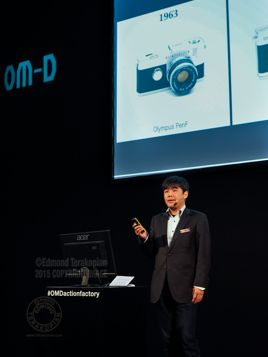 Olympus OM-D Action Factory with the new E-M5 Mark II, Prague, Czech Republic. Setsuya Kataoka (General Manager, Product & Marketing Planning Dept, Olympus Imaging Corp), addresses the photographers and journalists gathered. February 09, 2015. Photo: Edmond Terakopian