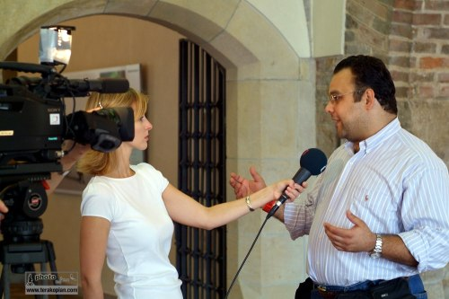 TV Interview. In Prague to recieve the Prize of Prague and view my solo exhibition which was part of the prize. September 2006. Photo: FotoPajer