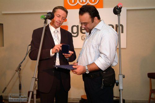 Receiving the Prize of Prague from the Mayor of Prague. September 2006. Photo: FotoPajer