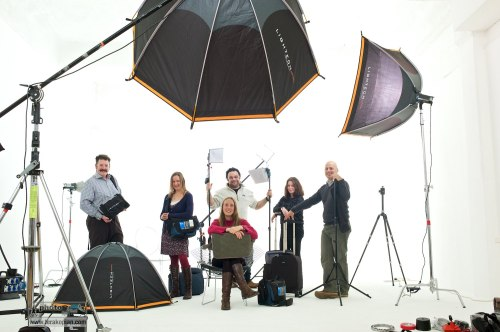 Members of the Snapper Stuff team at Tower Bridge Studios in London. The team with some of the products from Think Tank Photo, KLM, Lightech and LumiQuest.  December 08, 2012. Photo: Ant Upton