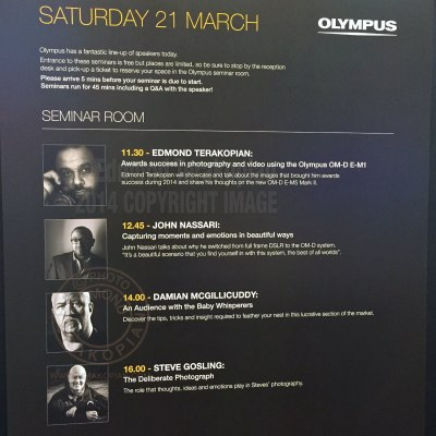 The Olympus Seminar Room time table at The Photography Show, NEC, Birmingham. March 21, 2015. Photo: Edmond Terakopian