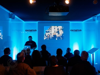 Edmond Terakopian giving a talk at The Olympus Seminar Room at The Photography Show, NEC, Birmingham. March 21, 2015. Photo: Rob J Hugh