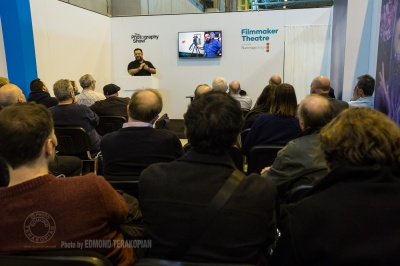 """Essentials In Documentary Film Making"" talk by Edmond Terakopian at the Filmmaker Theatre on behalf of Snapper Stuff. The Photography Show, NEC, Birmingham. March 23, 2015. Photo: Freia Turland"
