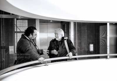 L-R: Edmond Terakopian and Ian Berry having a chat about all things photographic London.  January 22, 2015. Photo: Neil Buchan-Grant