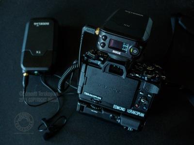 The RodeLink Film Maker Kit on my Olympus OM-D E-M5 Mark II. May 16, 2015. Photo: Edmond Terakopian