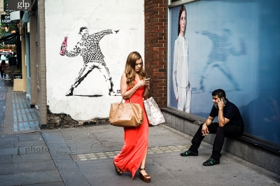 Banksy style graffiti (not an original Banksy) in Broadwick Street, Soho, London. July 22, 2014. Photo: Edmond Terakopian