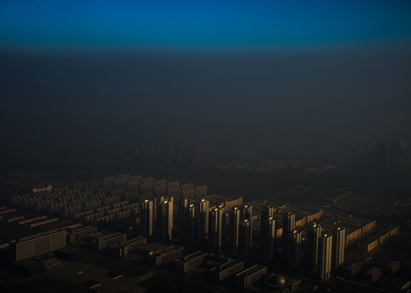 A city in northern China shrouded in haze, Tianjin, China. Photo: Zhang Lei